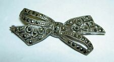 Vintage Art Deco Sterling Silver 925 Marcasite Ornate Tied Ribbon Bow Pin Brooch