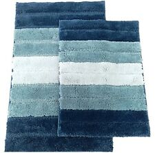 2 Piece High Top Striped Ombree Ultra soft Microfiber Bath rug set Royal Blue