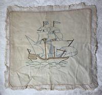 """Vintage Ship Pillow Case Needlepoint 18""""x16"""" Throw Pillow Square Pillow Sham"""