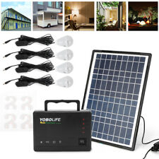 New Portable Solar Panel Power Generator Kit Battery Pack Power Station + 4 Bulb