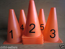 FOOTBALL RUGBY HOCKEY AGILITY PRACTICE SPORTS CONES MARKERS 10 PK 24CM**NEW**