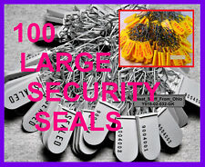 SECURITY SEALS, 100 SEALS, DISCOUNT-PRICED, PADLOCK-STYLE, LARGE-SHACKLE, NEW