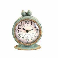 "Analog Desk Clock 3.5"" Table Birds Distressed Pewter Blue Shabby Chic Farmhouse"