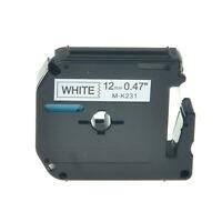 1PK M-K231 MK-231 Black on White Label Tape For Brother PT-65SB Printer 12mmx 8m