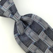 CAMBRIDGE CLASSICS US MADE GEOMETRIC DECO GRAY Silk Men Necktie I1-263 EUC Ties