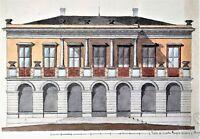 PROJET DE PALAIS À BARCELONE. AQUARELLE-ENCRE. JOAQUIN CARCERENY. ESPAGNE. XIX