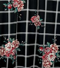 Black/White/Pink Plaid/Floral Double Brushed Poly - Fabric by the yard