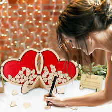 3D Rustic Wedding Guest Book Sweet Double-Heart Signature Wooden Party Decor Box