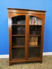 Bookcase with glass doors, inlaid mahogany display cabinet. Northants