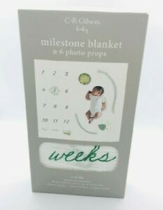 C.R. Gibson Baby Milestone Blanket & 6 Photo Props Animals 40in x40in