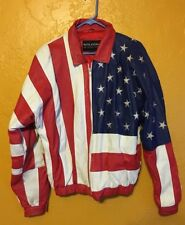 WILSON AMERICAN FLAG SEWN LEATHER MOTORCYCLE JACKET