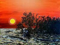 DOCTOR WHO original painting Artwork Everglades Florida Tardis