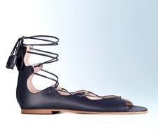 Boden Freida Womens UK 6 EU 39 Navy Blue Leather Lace & Zip Up Gladiator Sandals