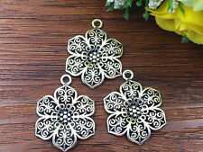 5pcs flower Tibetan Silver Bead charms Pendants DIY jewelry 30x24mm