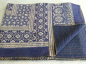 Indian Handmade Kantha Quilt Hand Block Ajrakh Print Bedspread Kantha Throw