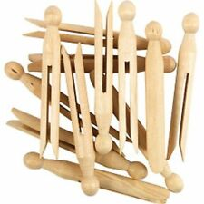 60 Large Pack Strong Wooden Wood Dolly Dolls Clothespin Clothes & Craft Pegs