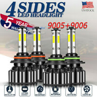 9005+9006 6000K 64000LM Combo 4Side LED Headlight Kit High Low Lamp Bulb canbus