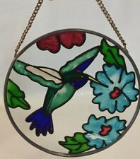 """HUMMINGBIRD Stained (painted) Glass round sun-catcher 4.25"""""""