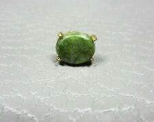 Vintage Prong Set Jade Yellow Gold Plated Tie Tac or Lapel Pin
