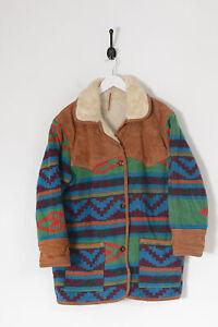 Vintage Women's Sherpa Lined Pattern Wool Winter Coat Multi-Colour (L)