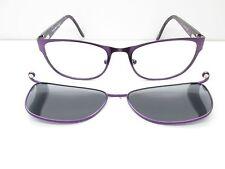 EasyClip EC314 Eyewear FRAMES +Clip-On 52-18-135 Purple Rectangle TV6 33114