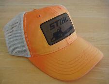 Stihl Orange Fabric with White Mesh Back Hat / Cap With leather STIHL logo