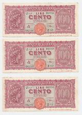 3 Consecutive WWII Banca D'italia 100 Lire Bank Note ~ Prefix Z-117