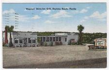 Wagners Drive Inn Grill Daytona Beach Florida 1950 linen postcard