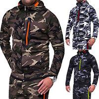 Men Camo Zip Up Hooded Hoodie Jacket Casual Sweatshirt Slim Fit Outwear Coat Top