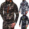 Mens Camo Tracksuit  Zip Up Jacket Hoodie Winter Gym Sport Hiking Casual Coat