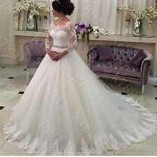 Weiß Langarm Ballkleider Brautkleid Abendkleid Hochzeitskleid Spitze Partykelid