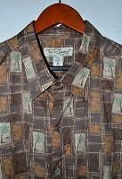 TORI RICHARD Hawaiian Shirt Size XL Made in USA Palm Trees Cotton Lawn