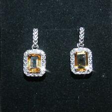 Golden Yellow Citrine Diamond Drop Dangle Earrings 14k White Gold Over 925 SS