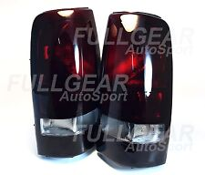 DARK RED LENS STYLE TAIL LIGHT PAIR SET FOR CHEVY SILVERADO 99-02 & SIERRA 99-03