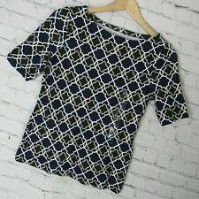 Charter Club Shirt Top Womens Petite Small PS Navy Geometric Print