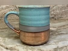Large Coffee Mug Choose Blue, Green, Pink Or Purple. Copper Color Bottom New.