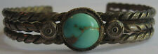VINTAGE NAVAJO INDIAN TWISTED WIRE STERLING SILVER TURQUOISE CUFF BRACELET