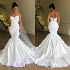 Spaghetti Straps Mermaid Wedding Dress White/Ivory Lace Satin Bridal Gown