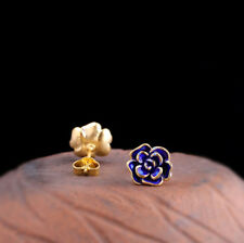 I03 Earring Rose Silver 925 Gold Plated With Cloisonne Enamel Blue