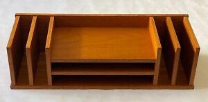 Mid-Century Modern Danish Denmark Teak Wood Desk Shelves Organizer with Label