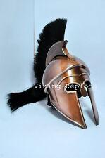 Medieval Greek Corinthian Spartan Armour Helmet black Antique W/Plume Halloween