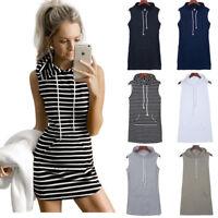 Women Sleeveless Hoodie Sweatshirt Hooded T Shirt Jumper Top Summer Mini Dress