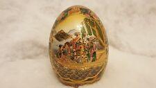 Porcelain Chinese Egg Vase Japanese Geisha Oriental White Gold Satsuma 6 Inches