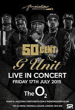 """50 CENT / G UNIT """"LIVE IN CONCERT"""" 2015 LONDON TOUR POSTER - Hip Hop, Rap Music"""