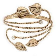 Antique Gold Tone Leaves and Crystals Upper Arm, Armlet Bracelet - Adjustable