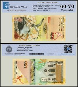 Bermuda 50 Dollars Banknote, 2009, P-61a, UNC, TAP 60 - 70 Authenticated