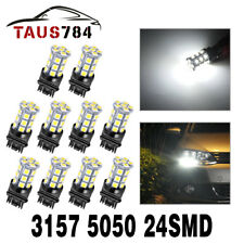 10 X White 3157 3156 24-SMD 5050 LED Turn Signal Tail Brake Light Bulbs 6000K