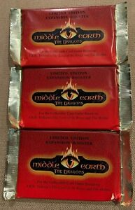 """Middle Earth CCG """"The Dragons"""" Booster Pack Lot (x3) Factory Sealed MECCG"""