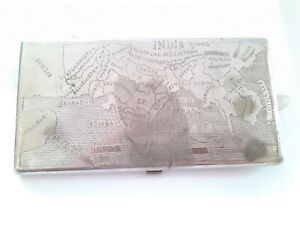 Antique Wwii British Empire Cigarette case Colonial India Map old case G76-10 US