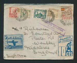 1937 SPAIN COVER TO WEMBLEY CIVIL WAR, VIGO PATRIOTIC LOCALS, CENSORED